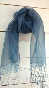 草木染めシルクストール 藍、ログウッド ¥8,532-