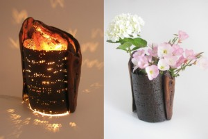 花器兼用乾漆灯り